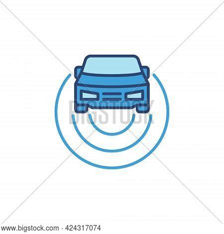 Car Autopilot Blue Icon - Vector Concept Colored Sign