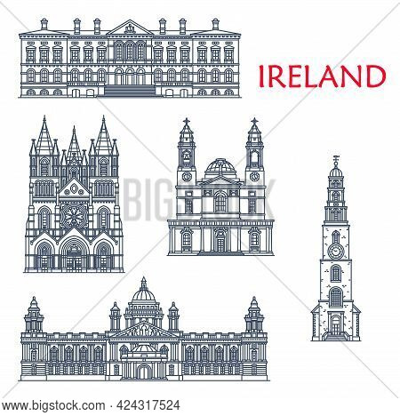 Ireland Landmarks, Architecture Buildings Of Belfast And Cork City, Vector Icons. Irish Historic And