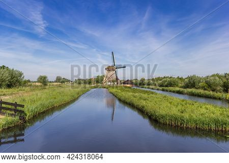 Historic Windmill De Onrust In Noord-holland, The Netherlands
