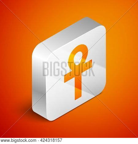 Isometric Cross Ankh Icon Isolated On Orange Background. Silver Square Button. Vector Illustration