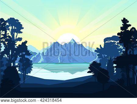 Mountain Landscape. Mountain View Through The Forest. Silhouette. Lake, Sea Bay. Mountains, Rocks On