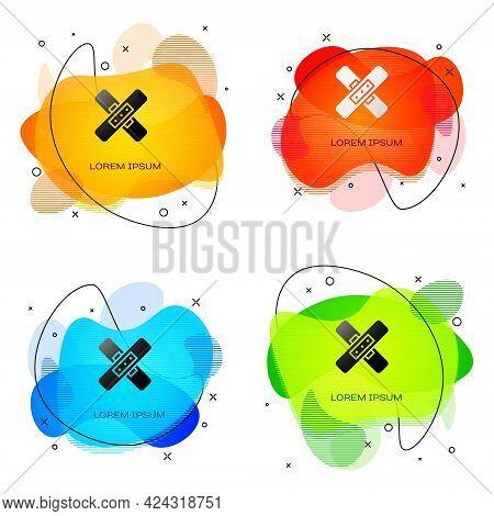 Black Crossed Bandage Plaster Icon Isolated On White Background. Medical Plaster, Adhesive Bandage,