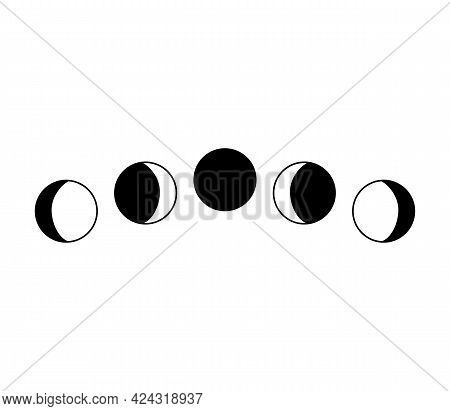 Moon Phases. Simple Black And White Vector Illustration With The Full Moon, Crescent Moon.
