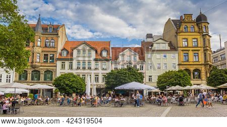 Braunschweig, Germany - July 25, 2020: Panorama Of People Sitting And Drinking At The Kohlmarkt Squa