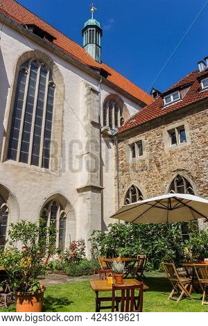 Braunschweig, Germany - July 26, 2020: Courtyard Of The Historic Ulrici Monastery In Braunschweig, G