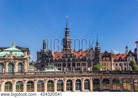Dresden, Germany - September 11, 2020: Skyline Of The Historic Inner City Of Dresden, Germany