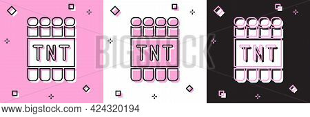 Set Detonate Dynamite Bomb Stick And Timer Clock Icon Isolated On Pink And White, Black Background.