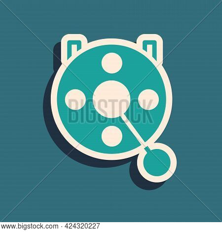 Green Spinning Reel For Fishing Icon Isolated On Green Background. Fishing Coil. Fishing Tackle. Lon