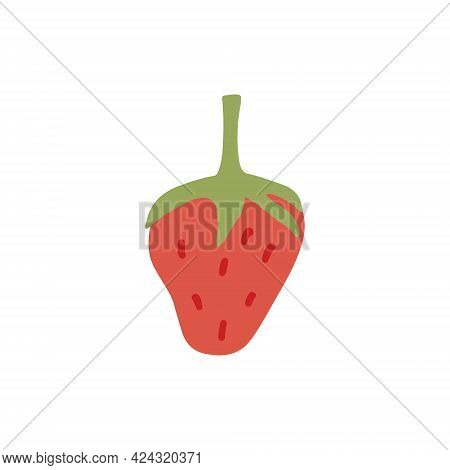 Ripe Red Strawberries Vector Flat Illustration. Hand Drawn Fresh Sweet Berries Isolated On White Bac
