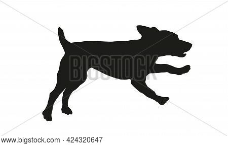Running And Jumping Russian Spaniel Puppy. Black Dog Silhouette. Pet Animals. Isolated On A White Ba
