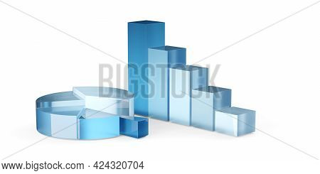 Blue Transparent Pie Chart And Bar Graph Business Diagrams Over White Background, Financial Growth,