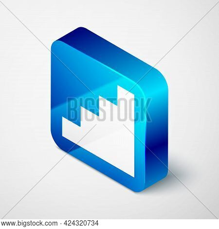 Isometric Staircase Icon Isolated On Grey Background. Blue Square Button. Vector