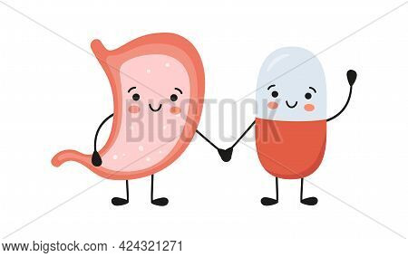 Healthy Stomach And Happy Smiling Medicine Pill Characters Hold Hands. Kawaii Medicine Capsule And C