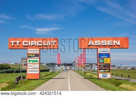 Assen, Netherlands - June 8, 2021: Main Entrance Of The Tt Racing Circuit In Assen, Netherlands