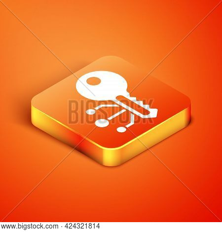 Isometric Cryptocurrency Key Icon Isolated On Orange Background. Concept Of Cyber Security Or Privat