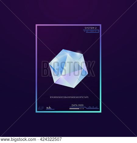 Diamond On Dark Background. Shining Crystal With Edges And Gradient. Technology Design Interface Wit