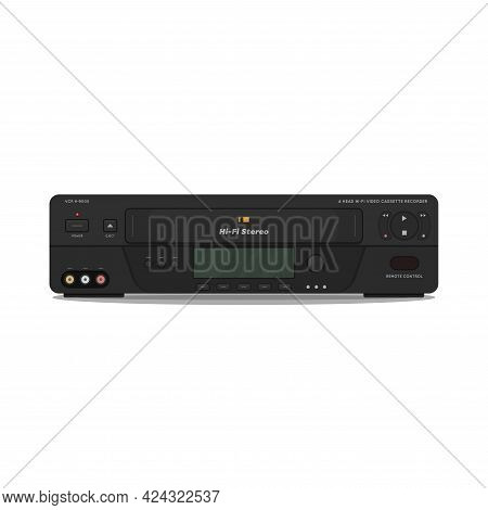 Vcr With Hi-fi Video And High Quality Video. 90s Videocassette Player And Recorder. Realistic Vector