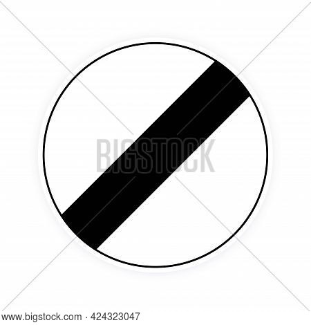 National Uk Round Traffic Derestriction Sign Flat Style Design Vector Illustration. White Circle Boa