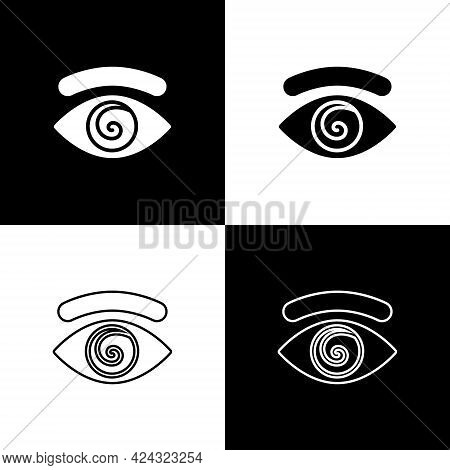 Set Hypnosis Icon Isolated On Black And White Background. Human Eye With Spiral Hypnotic Iris. Vecto