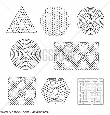 Labyrinth Maze Riddle, Finding Path And Exit Searching Logical Game. Triangular, Circle And Square,