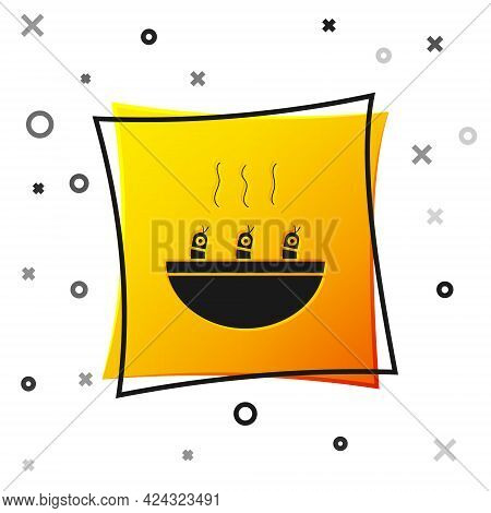 Black Soup With Shrimps Icon Isolated On White Background. Tom Yum Kung Soup. Yellow Square Button.