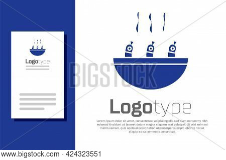 Blue Soup With Shrimps Icon Isolated On White Background. Tom Yum Kung Soup. Logo Design Template El