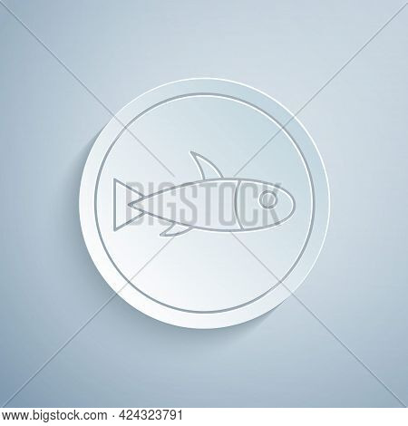 Paper Cut Served Fish On A Plate Icon Isolated On Grey Background. Paper Art Style. Vector.