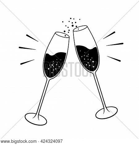 Black And White Two Champagne Glasses With Bubbles. Vector Illustration Is Isolated On White Backgro