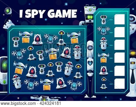 Kids I Spy Game With Robots, Vector Educational Puzzle With Cyborgs, Androids And Drones Characters.