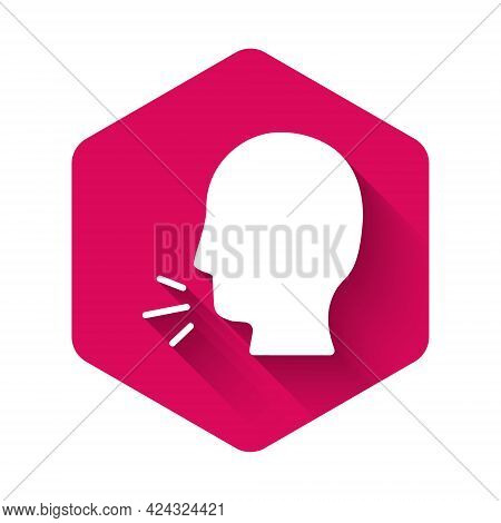 White Man Coughing Icon Isolated With Long Shadow. Viral Infection, Influenza, Flu, Cold Symptom. Tu