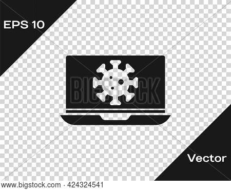 Black Virus Statistics On Laptop Icon Isolated On Transparent Background. Corona Virus 2019-ncov. Ba