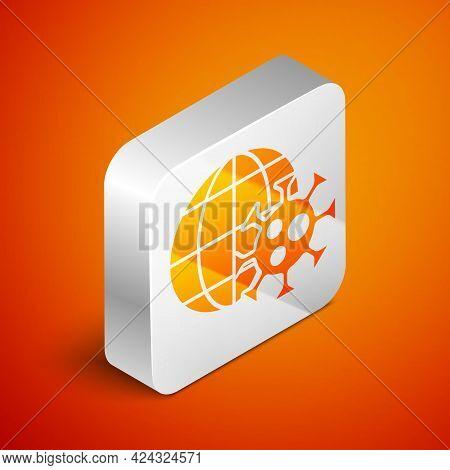 Isometric Earth Globe With Virus Icon Isolated On Orange Background. Corona Virus 2019-ncov. Bacteri