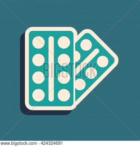 Green Pills In Blister Pack Icon Isolated On Green Background. Medical Drug Package For Tablet, Vita