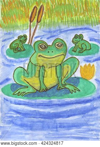 Hand-drawn Cartoon Characters. Green Frogs. Three Funny Frogs. Leaves And Water Lilies In The Pond
