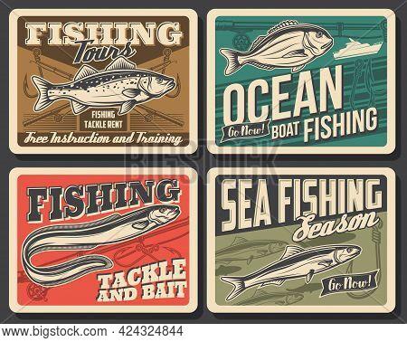 Sea Fishing Boat, Fish And Fisherman Tackle Vector Design. Bass, Anchovy, Eel And Dorado Fish, Fishi