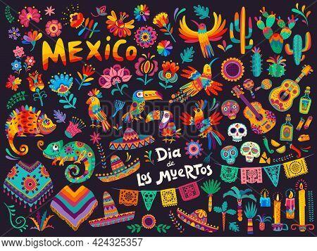 Mexican Cartoon Symbols Of Vector Dia De Los Muertos Or Day Of Dead Holiday Background. Mexico Hallo