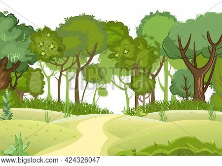 Forest Road. Summer Landscape. Dense Foliage. Views Of Hills And Green Trees. Cartoon Flat Style. Li