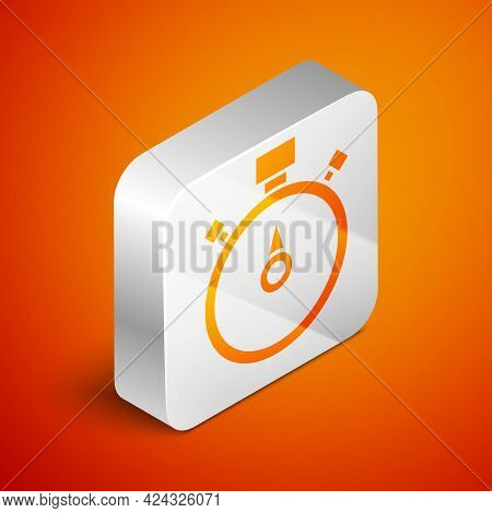 Isometric Stopwatch Icon Isolated On Orange Background. Time Timer Sign. Chronometer Sign. Silver Sq