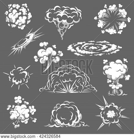 Cartoon Bomb Explosion, Comic Boom Clouds, Vector White Smoke, Aroma Or Toxic Steaming Vapour, Dust