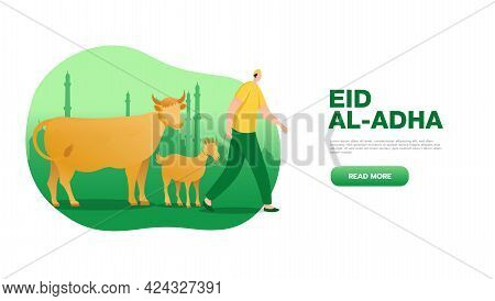 Eid Al Adha Mubarak Greeting Concept With People Character Bring Sacrificial Animal For Web Landing