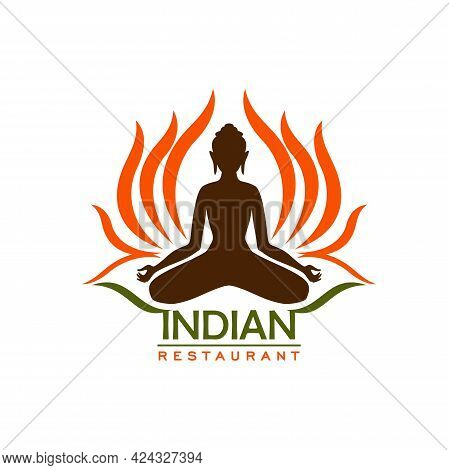 Indian Restaurant Vector Icon Of Asian Cuisine And Traditional Food Of India. Sacred Lotus Flower Wi