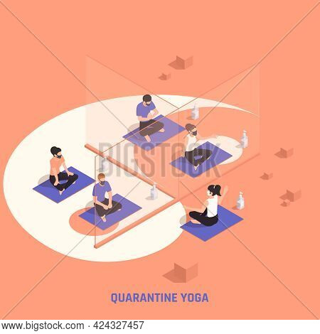 Global Pandemic Fitness Center Regulations Isometric Composition Yoga Class With Separating Particip