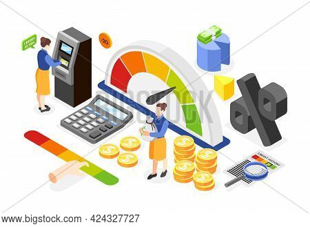 Isometric Composition With Colored Icons Of Loan Debtor Credit Meter Calculator Atm Money Chart On W