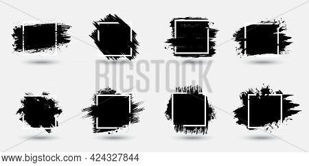 Grunge Frames Set, Paint Strokes Texture Vector Backgrounds. Black Ink, Spatters, Brushstrokes And S