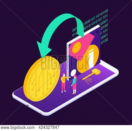 Cryptographic Art Crypto Art Nft Isometric Composition With Icons Of Painting And Coin On Smartphone