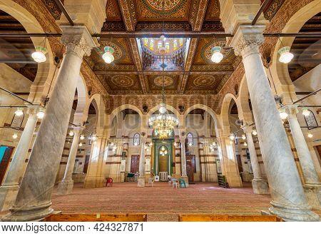 Cairo, Egypt- May 28 2021: Interior Of Public Historical Mamluk Era Imam Al Shafii Mosque Suited In