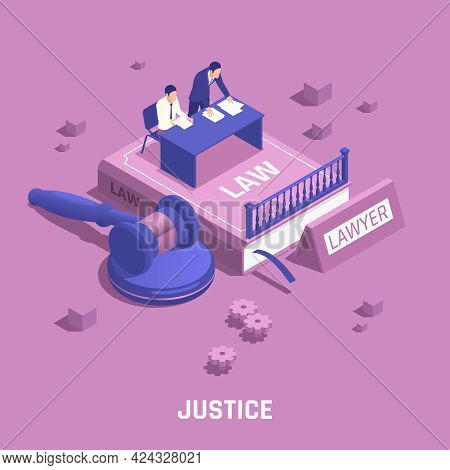 Law Justice Isometric Composition Abstract Situation With A Lawyer And A Defendant Sitting At A Tabl