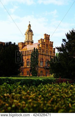 Scenic Landscape View Of Ancient Red Brick Building In Residence Of Bukovinian And Dalmatian Metropo