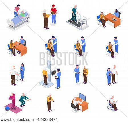 Nurses Help Elderly People Undergo Health Prevention Isometric Set Isolated Vector Illustration