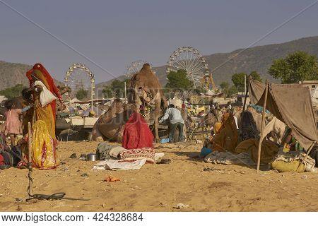 Pushkar, Rajasthan, India - November 6, 2008: Camel Carts And Camping Area At The Annual Pushkar Fai
